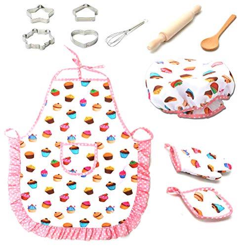 HEITIGN 11pcs Set da Cuoco per Bambini, Set da Cucina per Bambini Gioco da Cucina Impermeabile Grembiuli da Cuoco Cappello da Cuoco Guanto da Forno Frullino per Le Uova Regalo, Bianco