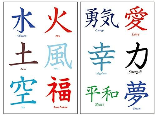 36 Premium Kanji Tattoos: Japanese, Chinese, Asian Characters: Love, Peace.