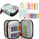 Ctcwsh Full Size Crochet Kit with Case,56-Piece Ergonomic Crochet Hook Set Size 0.5mm-8mm ,Knitting Needles with Storage Bag and Accessories for Arthritic Hands,Beginners and Experienced Crocheter