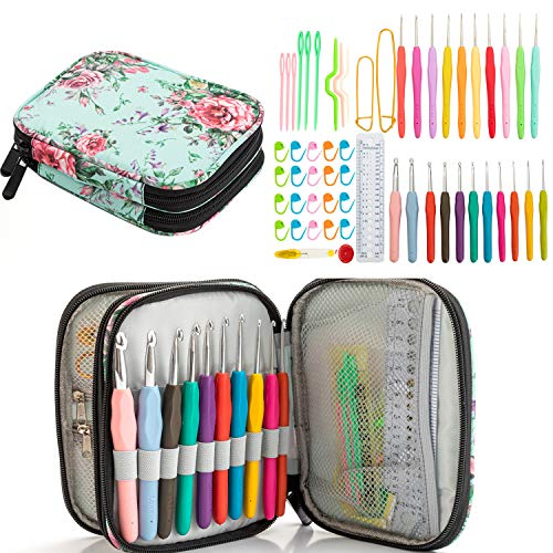 Ctcwsh Full Size Crochet Kit with Case,56-Piece Ergonomic Crochet Hook Set Size 0.5mm-8mm,Knitting Needles with Storage Bag and Accessories for Arthritic Hands,Beginners and Experienced Crocheter