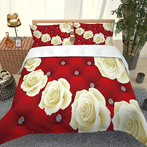 PKTMK Bedding Duvet Cover with 2 Pillowcases Printed Yellow rose print pattern Quilt Cover Set with Zipper Closure Anti-allergic Bedding For Kids adult Double 200x200cm