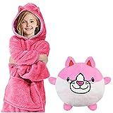 Yuson Girl Sudadera con capucha para niños y mascotas, 2 en 1, con diseño de animales de peluche, de gran tamaño, con capucha, con bolsillo, manga larga, para pijama, para albornoz