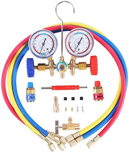 JIFETOR 3 Way AC Manifold Gauge Set HVAC Diagnostic Freon Charging Tool for Auto Household R12 product image