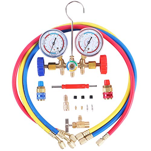 JIFETOR 3 Way AC Manifold Gauge Set, HVAC Diagnostic Freon Charging Tool for Auto Household R12 R22 R404A R134A Refrigerant, Quick Couplers Acme Adapter Valve Core Tool (3FT Hose, Can Tap)