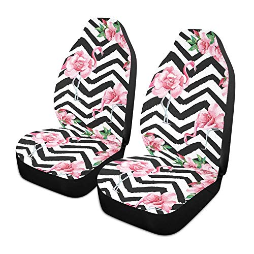 Hermoso Tropic Pink Flamingo and Rose Flowers Juego de 2 fundas para asientos de automóvil Asientos delanteros Solo para automóviles Manta de sillín delantero Ajuste universal para vehículos Sedan SU 🔥