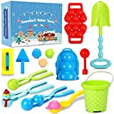 15 Pcs Snowball Maker Toys, Durable Snow Toys and Sand Mold Fun Winter Outdoor Snow Toys Lager Snowball Clip Snow Games for Kids Snowball Tool with Gift Box