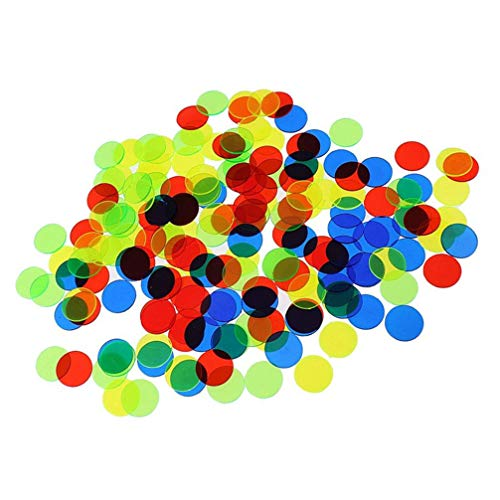 TOYANDONA 200 Stück Plastik Bingo Chips Zählen Chips Plastik Marker Spielmünzen 15Mm (Zufällige Farbe)
