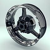 OneWheel Felgenrandaufkleber Motorrad 4er Komplett-Set (17 Zoll) - Felgenaufkleber Camouflage Snow (schwarz-weiß) (Design 4 - glänzend)