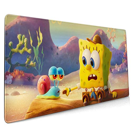 Spon-gebob Squar-epants Themed Mouse Mat Gaming Mouse Pad Waterproof Single Sided Desk Pad Non-Slip Rubber Base Mouse Pad with Stitched Edge Anime 40×90×0.3Cm