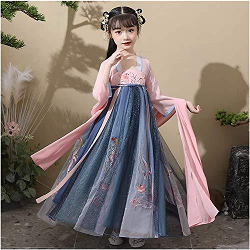 N\A ZT Primavera y otoo Chino Lindo Princesa Traje Vestido Elegante Estilo Chica Super Hada Vestido Traje de Falda Hanfu (Color : Style C, Size : 110cm)