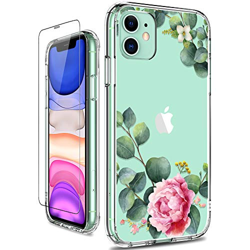 GiiKa iPhone 11 Case with Screen Protector, Clear Heavy Duty Protective Case Floral Girls Women Shockproof Hard PC Back…