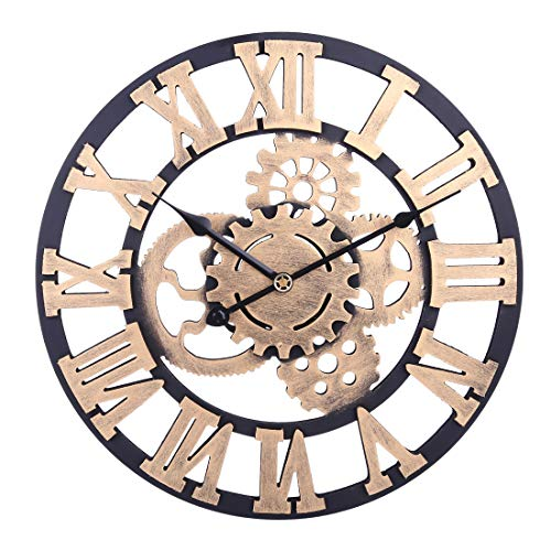 H0_V Redondo Reloj de Pared Silencioso, 60cm Reloj de Pared Grande Vintage...