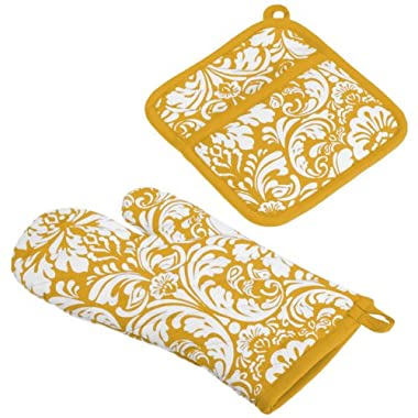 DII Cotton Damask Oven Mitt 12 x 6.5  and Pot Holder 8.5 x 8  Kitchen Gift Set, Machine Washable and Heat Resistant for Cooking and Baking-Mustard