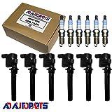 6 OEM Platinum Spark Plugs + 6 ADP Ignition Coils For Ford, Mazda, and Mercury DG513 DG500 FD502