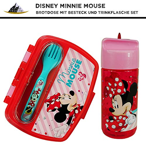 hi-lo Disney Minnie Maus Brotdose Trinkflasche Geschenk-Set Mädchen Kindergarten, Kinderbesteck, Auslaufsicher, BPA-frei