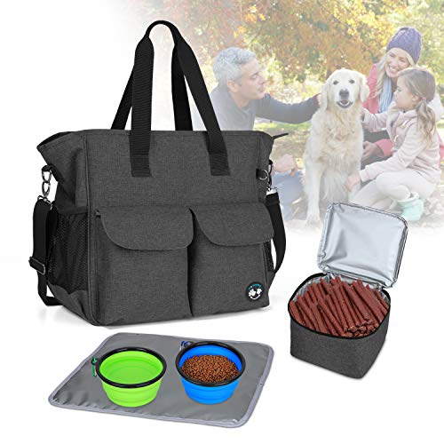 Teamoy Dog Travel Bag, Week Away Dog Supply Tote Bag, Included 2 Silicone Collapsible Bowls, 1 Food Carrier, 1 Water-Resistant Placemat, Black