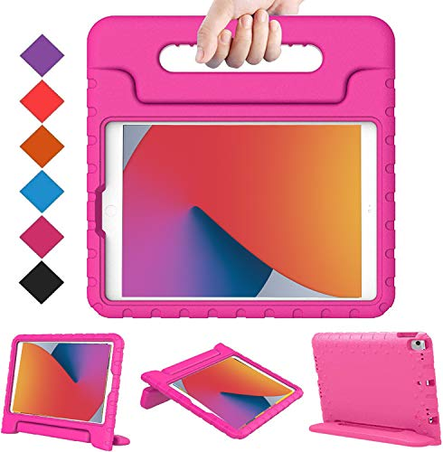 BMOUO New iPad 10.2 2020/20219 Kids Case, iPad 8th/7th Generation Case, iPad 10.2 2020/2019 Case, Shockproof Light Weight Convertible Handle Stand Case for iPad 10.2' Latest Model, Rose
