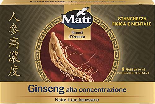 Matt - Ginseng Alta Concentrazione - Integratore Alimentare contro la Stanchezza Fisica e Mentale - 8 Fiale - 80 ml