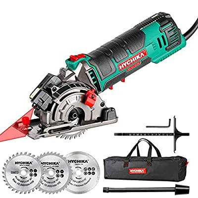 Mini Circular Saw, HYCHIKA Compact Circular Saw Tile Saw with 3 Saw Blades 4A Pure Copper Motor, 3-3/8?4500RPM Ideal for Wood, Soft Metal, Tile and Plastic Cuts, Laser Guide, Scale Ruler