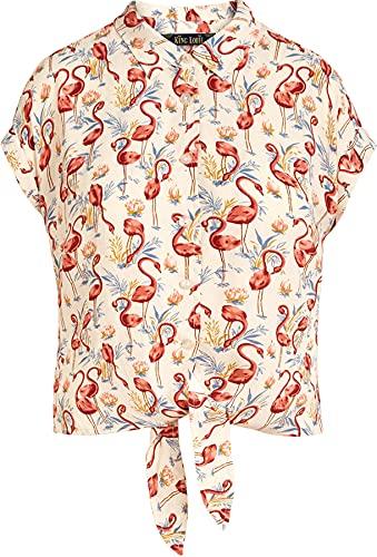 King Louie Damen Bluse Sonny Flamingo Kurzarm Retro Oberteil Cremefarben XS
