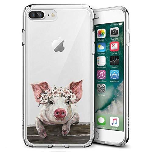 Dazhi iPhone 7 Plus 8 Plus Clear Case Terrific Pig Customized Design Pattern Ultra-Thin Flexible Crystal Phone Case for iPhone 7 Plus 8 Plus