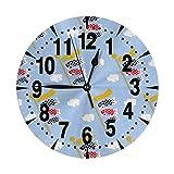 掛け時計 こいのぼり1 大文字 連続秒針 静音 壁掛け時計 置き時計 直径25cm