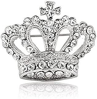 Huyizhi Strass Brosche Pin Zubehör, Krone Form Brosche Tuch Dekoration, für Party Urlaub Hochzeit, Silber