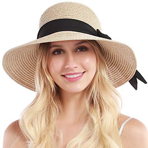 Womens Straw Hat Sun Hat for Women Beach Cap Summer Hats UV Protection UPF50+ (Mix Beige)