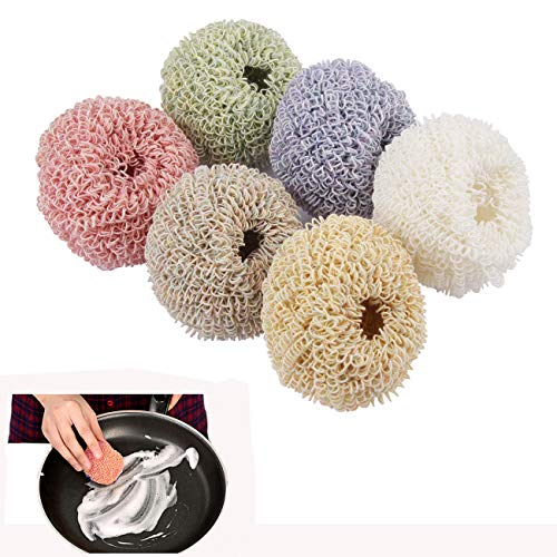 Colle 6 Pieces Nano Fiber Scratch Free Dish Scrubber Brush Scourer Kitchen Gadgets