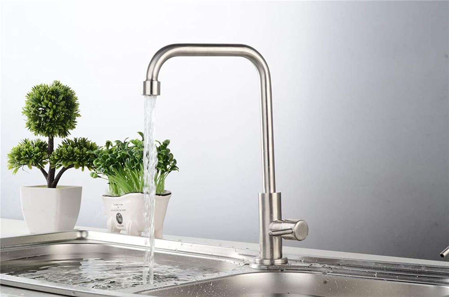 Sink Tap Stainless Steel Wall-Mounted Kitchen Sink Sink Single Cold