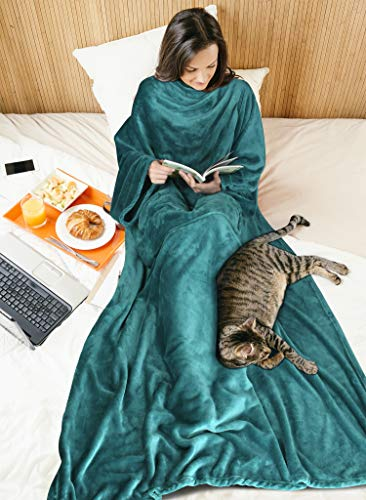 Fleece Wearable Blanket with Sleeves for Women Men, Super Soft Warm Cozy Micro Plush Functional Lightweight TV Wrap Robe Throw Blanket with Pocket for Lounge Couch Home Office, Green