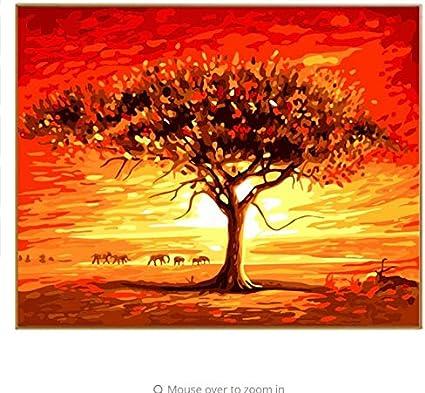 Diy Aceites Amigables Para El Medio Ambiente Del Paisaje Pintar Por Números Dibujar El árbol De Paisajes Africanos Nodulares Por Kits De Números 40x50cm Lona Enmarcada Amazon Es Hogar