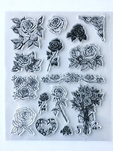 MaGuo Bouquets Roses Wreath Clear Stamps for Card Making Decoration and DIY Scrapbooking