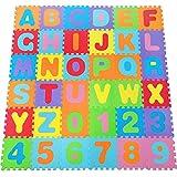 BAKAJI Tappeto Puzzle grande Mattonelle 32x32 cm con Lettere Alfabeto colorato in Morbida ...