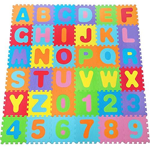 BAKAJI Tappeto Puzzle grande Mattonelle 32x32 cm con Lettere Alfabeto colorato in Morbida Gomma Eva Resistente, Isolante, Lavabile, Tappetino da Gioco per Bambini (36 pz)