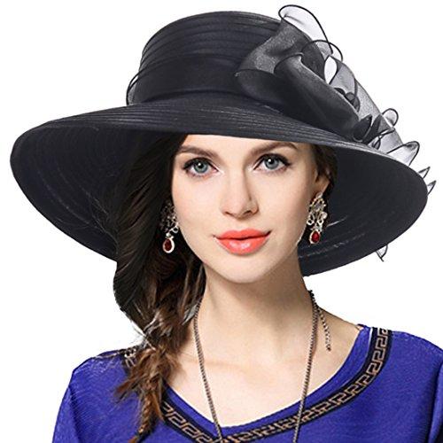 VECRY Mujer Elegante Iglesia Bautismo Boda Derby Sombrero Pamelas (Negro)