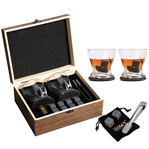 Whisky Stones and Glasses Set with Slate Coasters. Add stones instead of ice to avoid watering down whisky