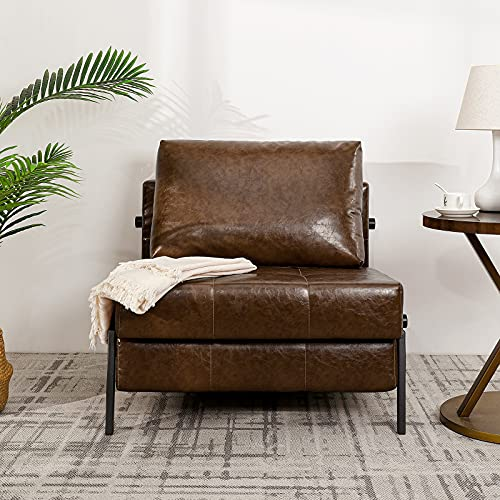 Vonanda Sofa Bed, Faux Leather Sleeper Sofa, Convertible Chair Bed with Hidden Legs and Sturdy Frame, Easy Folding Sleeper Chair for Compact Living Space, Chestnut Brown