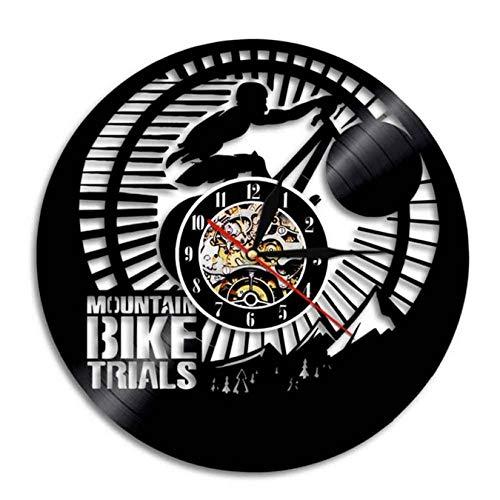 LWXJK Bicicleta De Montaña Ensayos De Reloj De Pared Ciclista Bicicleta La Decoración del Hogar Moderno Arte De Ciclismo De Montaña De Discos De Vinilo De Pared con Reloj Retro Ciclista De Regalos
