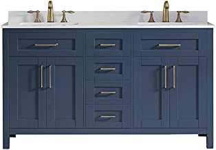 Ove Decors Tahoe 60 Midnight Blue Double Sink Vanity with Cultured Marble Top and Mirrors, 60'',