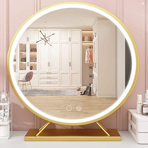Peralng Espejo de maquillaje redondo grande con botón táctil y marco de metal, 3 colores de luz y brillo regulable, 50 cm, espejo de mesa con conector para tocador, salón de belleza, hotel