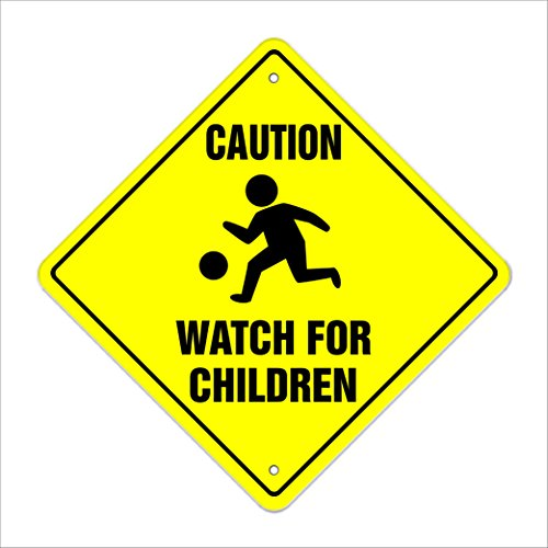 "Caution Watch for Children Crossing Sign Zone Xing | Indoor/Outdoor | 17"" Slow Playing at Play Safety"