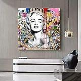HUANGXLL Street Graffiti Art Marilyn Monroe Lienzo Pintura Cartel ImpresionesPared Arte imágenes para decoración del hogar-50x50cm sin Marco