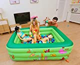 OKOUNOKO Colchoneta De Chorro De Agua para Niños, Piscina De Agua Tubular Rectangular Piscina De Agua, PVC Inflable Durable, Animal Marino verde-210 * 145 * 65 cm