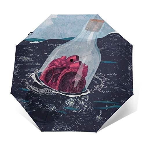 TISAGUER Paraguas automático de Apertura/Cierre,Pintura al óleo de Arte Moderno con Botella de Deriva de corazón en el Mar Negro,Paraguas pequeño Plegable a Prueba de Viento