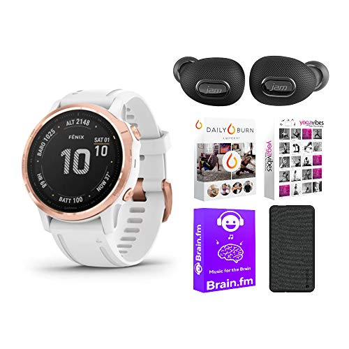 Garmin Fenix 6S Pro Multisport GPS Smartwatch (Rose Gold-Tone/White Band) Performance Bundle (4 Items)