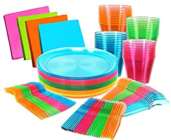 Glow Neon Party Supplies - Serves 32 guests Hard Plastic & Disposable Neon Plates 9  Cups Tumblers 9 Oz Cutlery - Forks Knives Spoons and Napkins Glow In The Dark Neon Birthday Party Supplies.