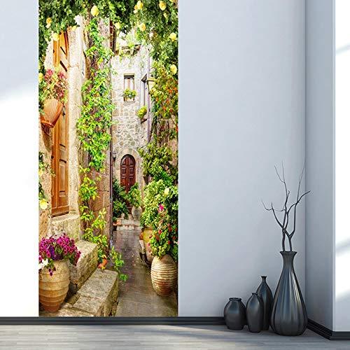 WENQI Mural De La Puerta 3D - Edificio De Vid De Flor Verde 77X200 Cm Papel Pintado De La Puerta Del Cartel De La Puerta Autoadhesiva Diy Mural Autoadhesivo Impermeable - Sala De Estar Para Niños