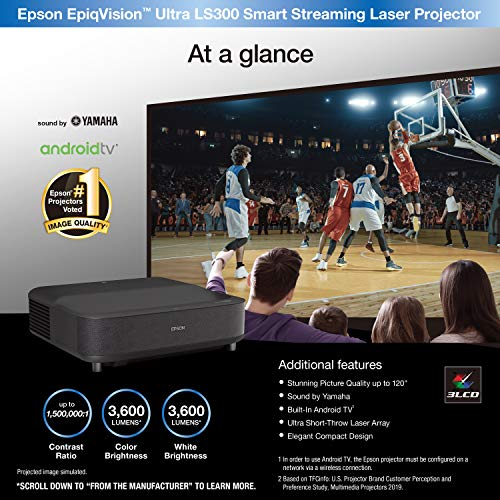 Epson – EpiqVision Ultra LS300 Smart Streaming Laser Ultra Short Throw Projector with HDR and Android TV – Black Missouri
