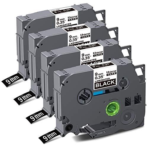 Unismar Compatible Label Tape Replacement for Brother PT TZe-325 TZ325 Tz Tape 9mm 0.35 Laminated for PTD200 PTD210 PTD600 PTD400 PTH100 PTH110 PT1280 Printer, 3/8'' x26.2', White on Black, 4-Pack